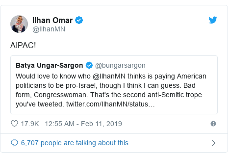 Twitter post by @IlhanMN: AIPAC!