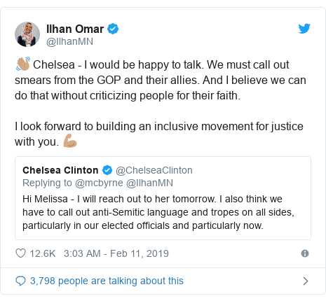 Twitter post by @IlhanMN: 👋🏽 Chelsea - I would be happy to talk. We must call out smears from the GOP and their allies. And I believe we can do that without criticizing people for their faith.I look forward to building an inclusive movement for justice with you. 💪🏽