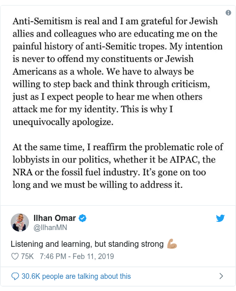 Twitter post by @IlhanMN: Listening and learning, but standing strong 💪🏽