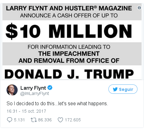 Publicación de Twitter por @ImLarryFlynt: So I decided to do this...let's see what happens.