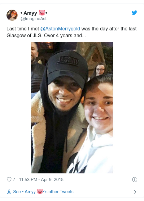 Twitter post by @ImagineAst: Last time I met @AstonMerrygold was the day after the last Glasgow of JLS. Over 4 years and...