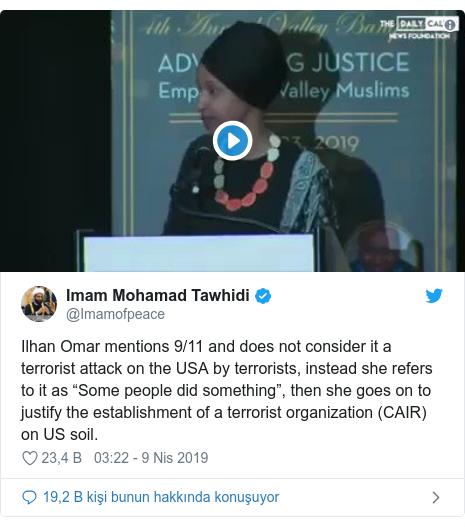 "@Imamofpeace tarafından yapılan Twitter paylaşımı: Ilhan Omar mentions 9/11 and does not consider it a terrorist attack on the USA by terrorists, instead she refers to it as ""Some people did something"", then she goes on to justify the establishment of a terrorist organization (CAIR) on US soil."