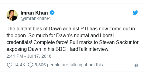 Twitter post by @ImranKhanPTI: The blatant bias of Dawn against PTI has now come out in the open. So much for Dawn's neutral and liberal credentials! Complete farce! Full marks to Stevan Sackur for exposing Dawn in his BBC HardTalk interview.