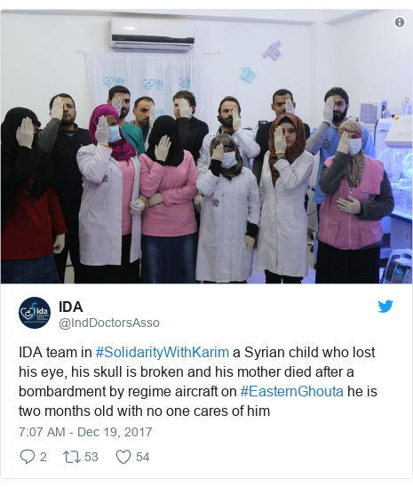 Twitter post by @IndDoctorsAsso: IDA team in #SolidarityWithKarim a Syrian child who lost his eye, his skull is broken and his mother died after a bombardment by regime aircraft on #EasternGhouta he is two months old with no one cares of him