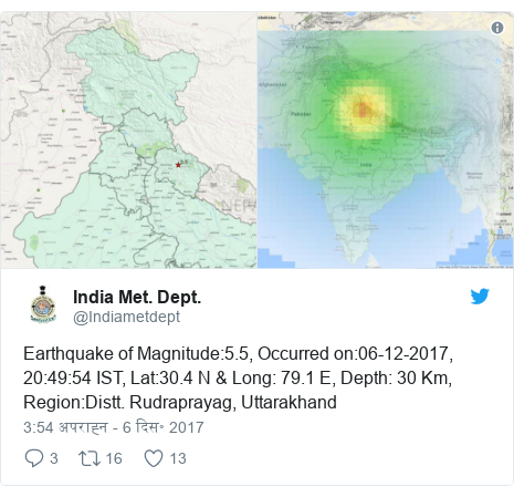 ट्विटर पोस्ट @Indiametdept: Earthquake of Magnitude 5.5, Occurred on 06-12-2017, 20 49 54 IST, Lat 30.4 N & Long  79.1 E, Depth  30 Km, Region Distt. Rudraprayag, Uttarakhand