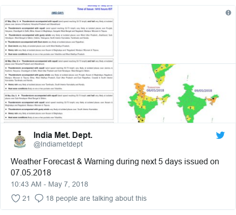 Twitter post by @Indiametdept: Weather Forecast & Warning during next 5 days issued on 07.05.2018