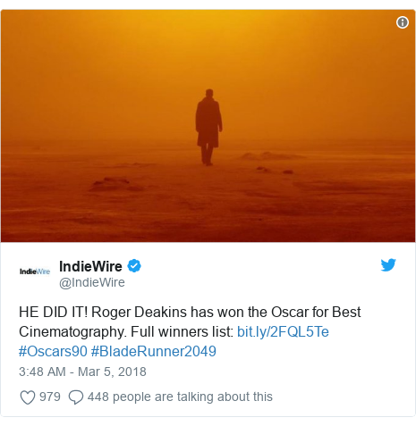 Twitter post by @IndieWire: HE DID IT! Roger Deakins has won the Oscar for Best Cinematography. Full winners list   #Oscars90 #BladeRunner2049
