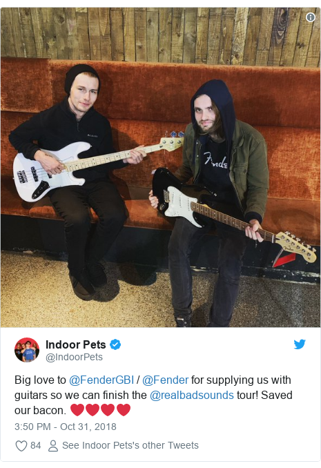 Twitter post by @IndoorPets: Big love to @FenderGBI / @Fender for supplying us with guitars so we can finish the @realbadsounds tour! Saved our bacon. ❤️❤️❤️❤️
