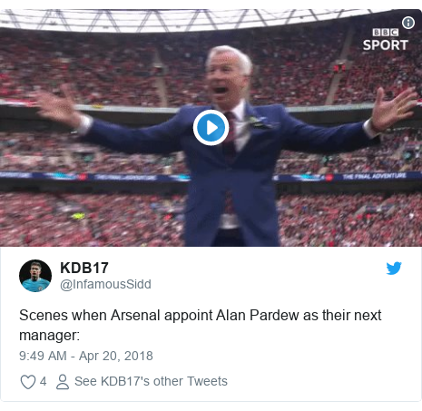 Twitter post by @InfamousSidd: Scenes when Arsenal appoint Alan Pardew as their next manager