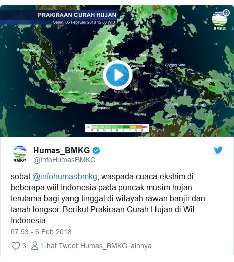 Twitter pesan oleh @InfoHumasBMKG: sobat @infohumasbmkg, waspada cuaca ekstrim di beberapa wiil Indonesia pada puncak musim hujan terutama bagi yang tinggal di wilayah rawan banjir dan tanah longsor. Berikut Prakiraan Curah Hujan di Wil Indonesia.