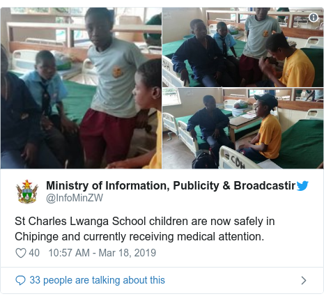 Twitter post by @InfoMinZW: St Charles Lwanga School children are now safely in Chipinge and currently receiving medical attention.