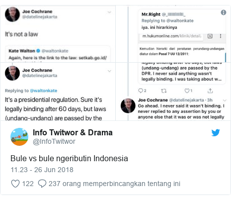Twitter pesan oleh @InfoTwitwor: Bule vs bule ngeributin Indonesia