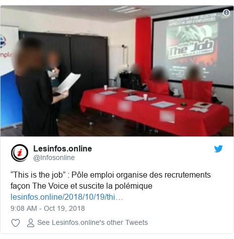 """Twitter post by @Infosonline: """"This is the job""""   Pôle emploi organise des recrutements façon The Voice et suscite lapolémique"""