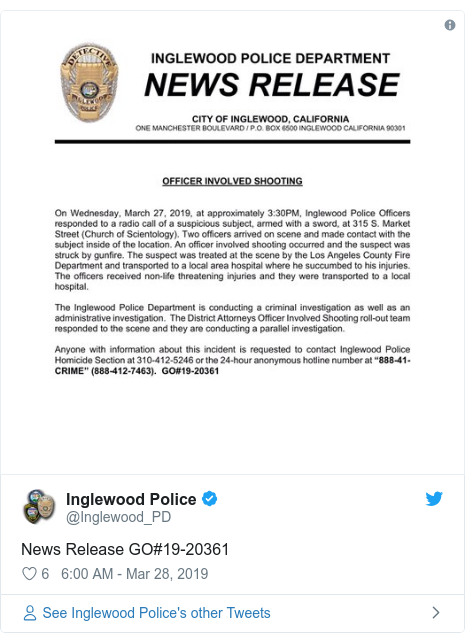 Twitter post by @Inglewood_PD: News Release GO#19-20361