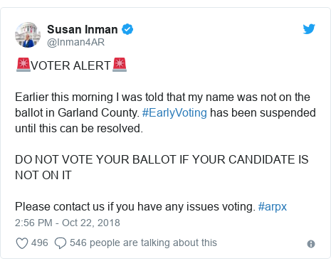 Twitter post by @Inman4AR: 🚨VOTER ALERT🚨Earlier this morning I was told that my name was not on the ballot in Garland County. #EarlyVoting has been suspended until this can be resolved. DO NOT VOTE YOUR BALLOT IF YOUR CANDIDATE IS NOT ON IT Please contact us if you have any issues voting. #arpx