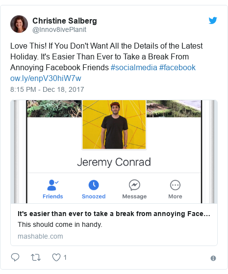 Twitter post by @Innov8ivePlanit: Love This! If You Don't Want All the Details of the Latest Holiday. It's Easier Than Ever to Take a Break From Annoying Facebook Friends #socialmedia #facebook
