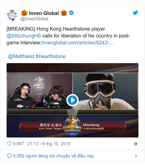 Twitter bởi @InvenGlobal: [BREAKING] Hong Kong Hearthstone player @blitzchungHS calls for liberation of his country in post-game interview  @Matthieist #Hearthstone
