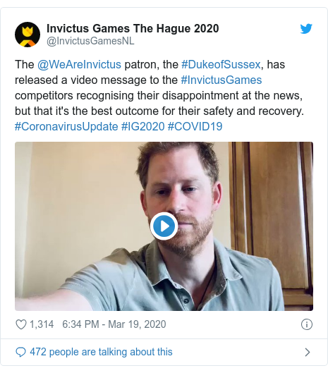 Twitter post by @InvictusGamesNL: The @WeAreInvictus patron, the #DukeofSussex, has released a video message to the #InvictusGames competitors recognising their disappointment at the news, but that it's the best outcome for their safety and recovery. #CoronavirusUpdate #IG2020 #COVID19