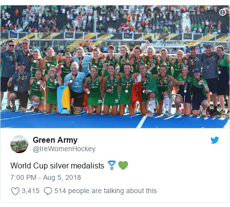 Twitter post by @IreWomenHockey: World Cup silver medalists 🥈💚