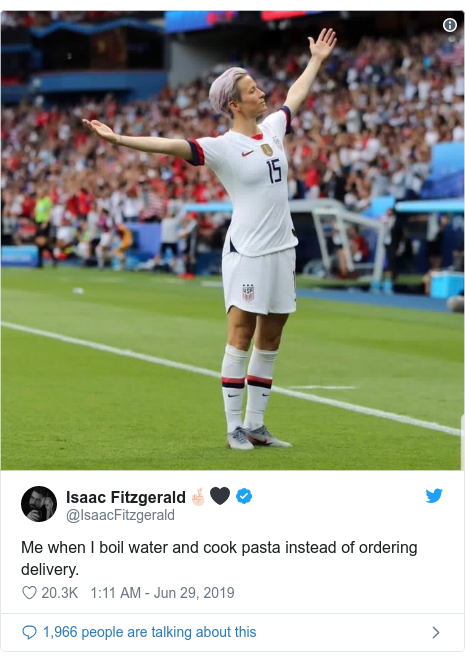 Twitter post by @IsaacFitzgerald: Me when I boil water and cook pasta instead of ordering delivery.