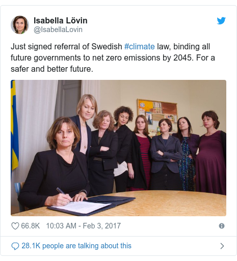 Twitter post by @IsabellaLovin: Just signed referral of Swedish #climate law, binding all future governments to net zero emissions by 2045. For a safer and better future.