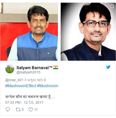 Twitter post by @Isatyam2015: #MashroomEffect #Mushroom अल्पेश कौन सा मशरूम खाया है....