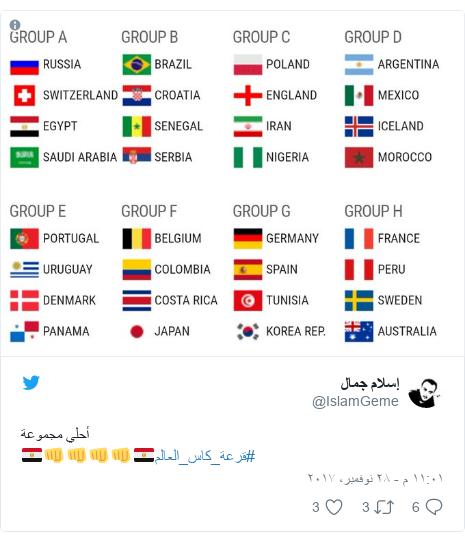 تويتر رسالة بعث بها @IslamGeme: أحلي مجموعة🇪🇬👊👊👊👊🇪🇬#قرعة_كاس_العالم