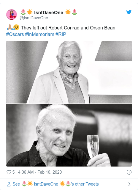 Twitter post by @IsntDaveOne: 🙏🏽😥 They left out Robert Conrad and Orson Bean. #Oscars #InMemoriam #RIP