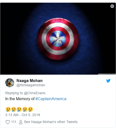 Twitter post by @ItsNaagamohan: In the Memory of #CaptainAmerica😢😢😢😢😢
