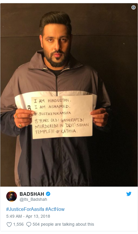 Twitter post by @Its_Badshah: #JusticeForAasifa #ActNow