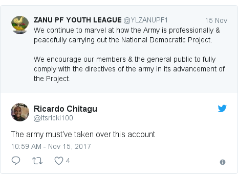 Twitter post by @Itsricki100: The army must've taken over this account