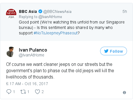Twitter post by @IvanAtHome: Of course we want cleaner jeeps on our streets but the government's plan to phase out the old jeeps will kill the livelihoods of thousands.