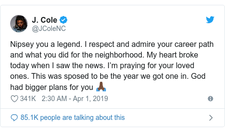 Twitter post by @JColeNC: Nipsey you a legend. I respect and admire your career path and what you did for the neighborhood. My heart broke today when I saw the news. I'm praying for your loved ones. This was sposed to be the year we got one in. God had bigger plans for you 🙏🏿