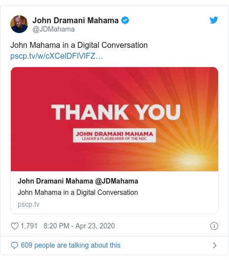 Twitter post by @JDMahama: John Mahama in a Digital Conversation