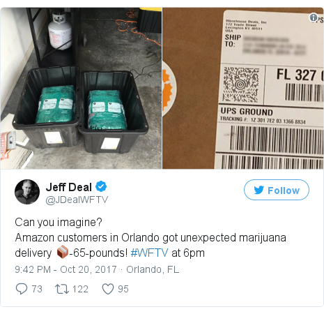 Twitter post by @JDealWFTV: Can you imagine?Amazon customers in Orlando got unexpected marijuana delivery 📦-65-pounds! #WFTV at 6pm