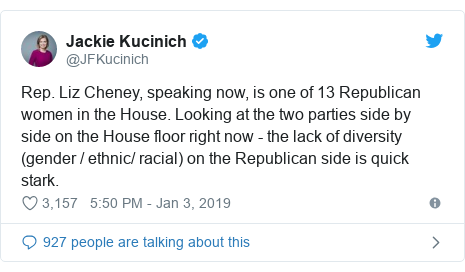 Twitter post by @JFKucinich: Rep. Liz Cheney, speaking now, is one of 13 Republican women in the House. Looking at the two parties side by side on the House floor right now - the lack of diversity (gender / ethnic/ racial) on the Republican side is quick stark.