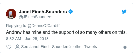 Twitter post by @JFinchSaunders: Andrew has mine and the support of so many others on this.