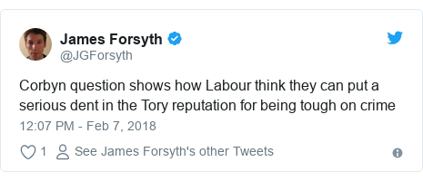 Twitter post by @JGForsyth: Corbyn question shows how Labour think they can put a serious dent in the Tory reputation for being tough on crime