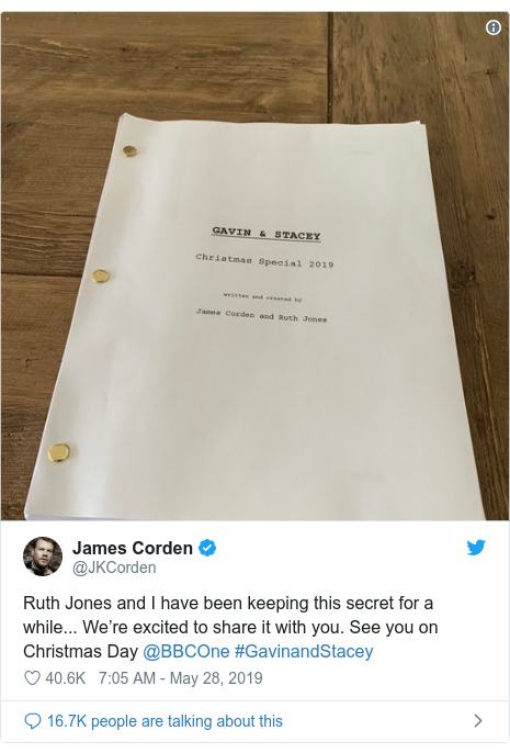 Twitter post by @JKCorden: Ruth Jones and I have been keeping this secret for a while... We're excited to share it with you. See you on Christmas Day @BBCOne #GavinandStacey