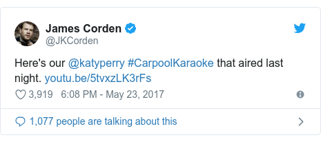 Twitter post by @JKCorden: Here's our @katyperry #CarpoolKaraoke that aired last night.