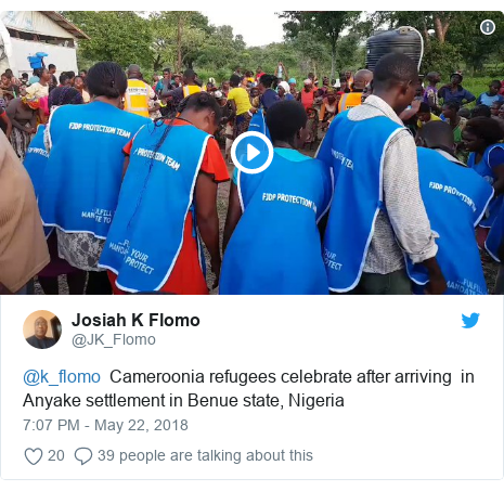 Twitter post by @JK_Flomo: @k_flomo  Cameroonia refugees celebrate after arriving  in Anyake settlement in Benue state, Nigeria