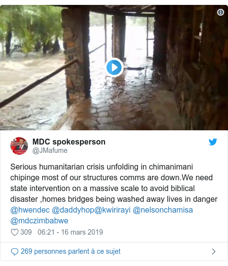 Twitter publication par @JMafume: Serious humanitarian crisis unfolding in chimanimani chipinge most of our structures comms are down.We need state intervention on a massive scale to avoid biblical disaster ,homes bridges being washed away lives in danger @hwendec @daddyhop@kwirirayi @nelsonchamisa @mdczimbabwe