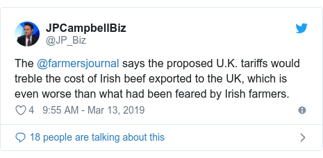 Twitter post by @JP_Biz: The @farmersjournal says the proposed U.K. tariffs would treble the cost of Irish beef exported to the UK, which is even worse than what had been feared by Irish farmers.