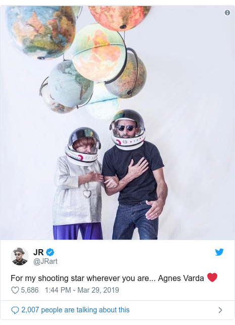 Twitter post by @JRart: For my shooting star wherever you are... Agnes Varda ❤️
