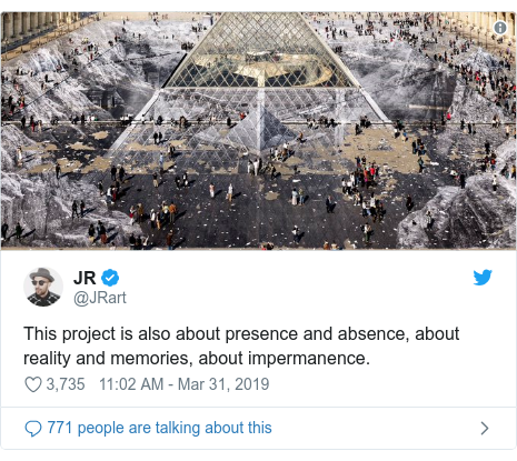 Twitter post by @JRart: This project is also about presence and absence, about reality and memories, about impermanence.
