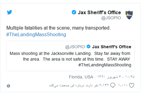 پست توییتر از @JSOPIO: Multiple fatalities at the scene, many transported.  #TheLandingMassShooting