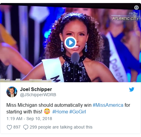 Twitter post by @JSchipperWDRB: Miss Michigan should automatically win #MissAmerica for starting with this! 😳  #Home #GoGirl