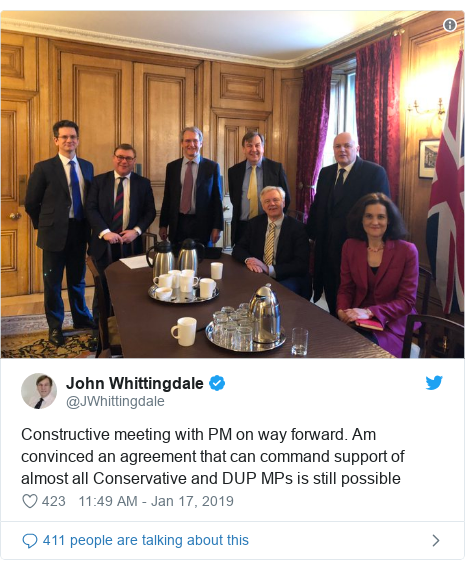 Twitter post by @JWhittingdale: Constructive meeting with PM on way forward. Am convinced an agreement that can command support of almost all Conservative and DUP MPs is still possible