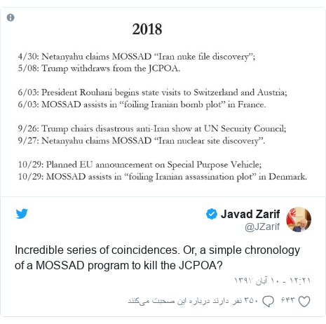 پست توییتر از @JZarif: Incredible series of coincidences. Or, a simple chronology of a MOSSAD program to kill the JCPOA?