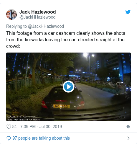 Twitter post by @JackHHazlewood: This footage from a car dashcam clearly shows the shots from the fireworks leaving the car, directed straight at the crowd